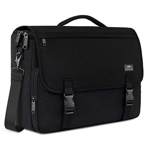 Messenger Bag for Men, Briefcases Lightweight Men's Laptop Bag 15.6 inch Water Resistant Crossbody School Satchel Bags for Boys Computer Work Office Bag with Shoulder Strap, Black