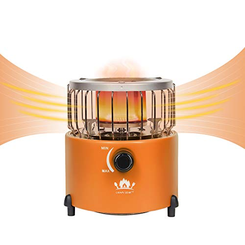 Campy Gear 2 in 1 Portable Propane Heater & Stove, Outdoor Camping Gas Stove Camp Garage Tent Heater for Ice Fishing Backpacking Hiking Hunting Survival Emergency (Orange, CG-2000G)