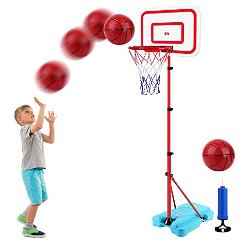 Portable Basketball Hoop for Kids, Adjustable Height Up to 6.3 Feet for Indoor Outdoor Basketball Game Mini Basketball Goal Toy with Ball Pump for Kids Outdoor Play Sport