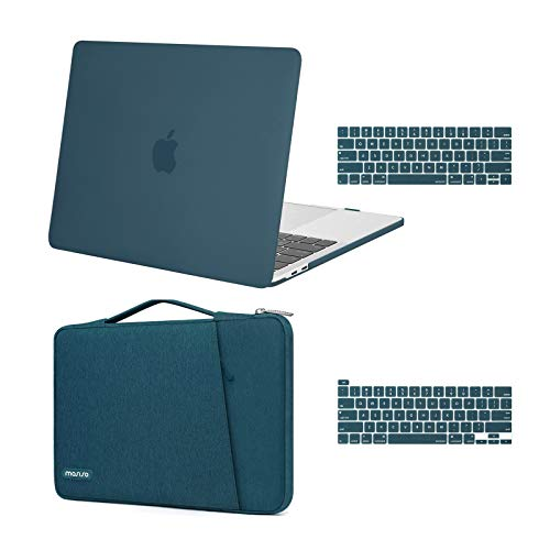 MOSISO Compatible with MacBook Pro 13 inch Case 2016-2020 Release A2338 M1 A2289 A2251 A2159 A1989 A1706 A1708, Plastic Hard Shell Case & 360 Protective Sleeve Bag & Keyboard Cover Skin, Deep Teal