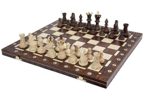 Wegiel Handmade European Ambassador Chess Set - Wooden 21 Inch Beech & Birch Board With Felt Base - Carved Hornbeam & Sycamore Wood Chess Pieces - Compartment Inside The Board To Store Each Piece