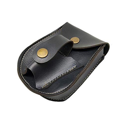 FEIlei Waist Bag, Handmade Leather 2 in 1 Hunting Slingshot Catapult Steel Balls Bearings Bag Pouch Case Holder- Black