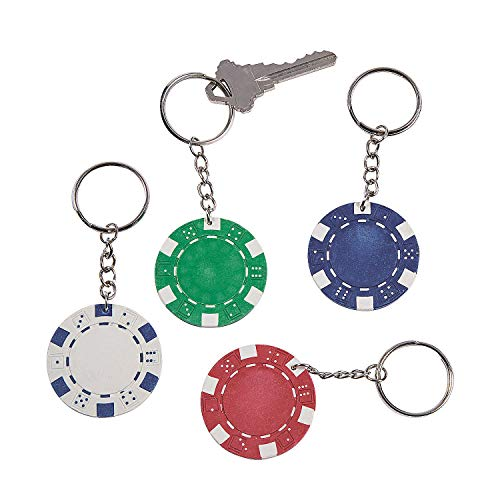 Fun Express - Poker Chip Key Chain - Apparel Accessories - Key Chains - Novelty Key Chains - 12 Pieces