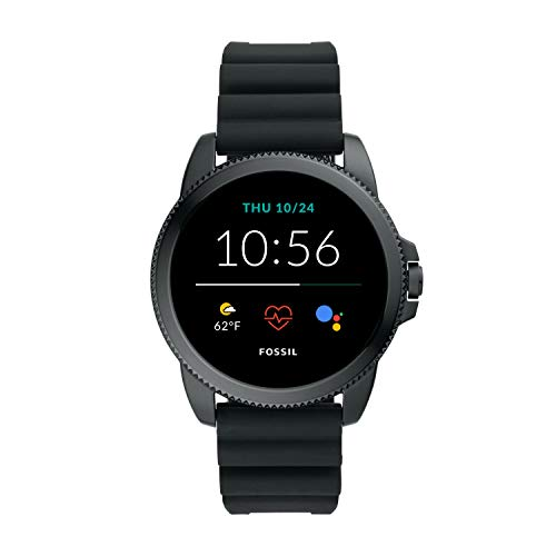 New Fossil Unisex 44MM Gen 5E Stainless Steel and Silicone Touchscreen Smart Watch, Color: Black (Model: FTW4047)