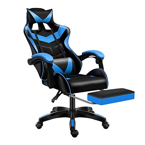 Gaming Chair Office Chair Racing Chair with Footrest,Backrest and Seat Height Adjustment Recliner with Headrest and Lumbar Pillow E-Sports Chair (Blue)