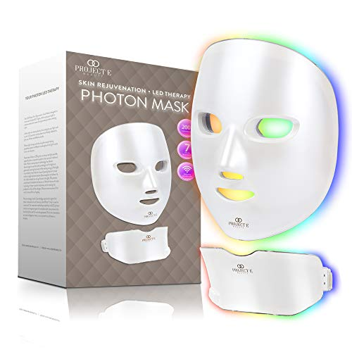 Project E Beauty Photon Skin Rejuvenation Face & Neck Mask | Wireless LED Photon Red Blue Green Therapy 7 Color Light Treatment Anti Aging Spot Removal Wrinkles Facial Skin Care Mask