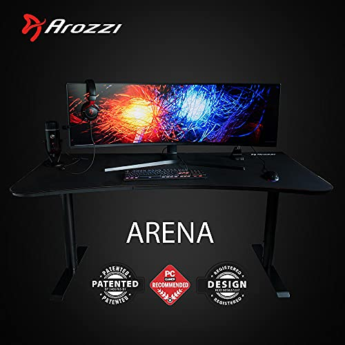 Arozzi Arena Ultrawide Curved Computer Gaming/Office Desk, Pure Black