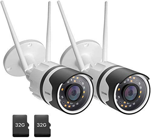 ZOSI 2pack C190 H.265+ 1080P WiFi Security Camera with 32GB SD Card, Two-Way Audio, IP67 Waterproof, 80ft Color Night Vision, AI Human Detection, Moiton Alert, Smart Light & Sound Alarm