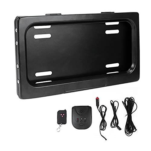 Electric License Plate Frame with Remote, Hide Away Shutter Cover Up, 1 Pack Universal Stealth License Plate Holder, Automatic Hidden Cover for US Standard Cars, Screws Included, No Drill, Rust Proof