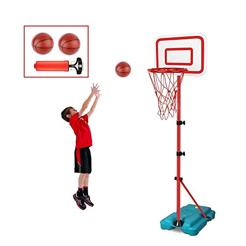 E EAKSON Kids Basketball Hoop Stand Set,Adjustable Height 2.9 ft -6.2 ft, Mini Indoor Basketball Goal Toy with Ball Pump for Boys Girls Outdoor Play Poolside Sport for Age 3 4 5 6 7 8 Years Old