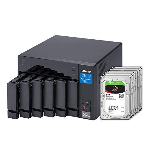 QNAP 6 Bay Thunderbolt NAS with 40TB Storage Capacity, Preconfigured RAID 5 Seagate IronWolf Drives Bundle (TVS-672XT-i3-8G-68S-US)