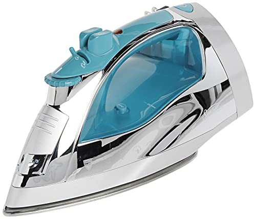 """""""Sunbeam Steammaster Steam Iron   1400 Watt Large Anti-Drip Nonstick Stainless Steel Iron with Steam Control and Retractable Cord, Chrome/Blue""""."""