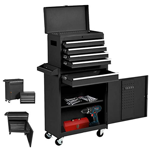 5 Drawers Rolling Tool Box, Large Tool Organizers Lockable Tool Chest with 4 Wheels and Sliding Drawers, Detachable Toolbox Great for Workshop Warehouse and Both Have a Cabinet (Black)