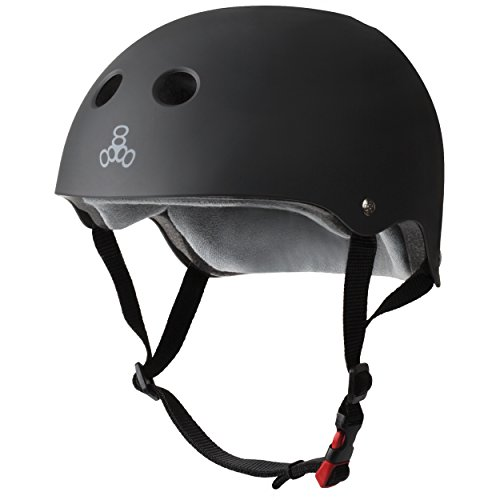 Triple Eight THE Certified Sweatsaver Helmet for Skateboarding, BMX, and Roller Skating, Black Rubber, Large / X-Large