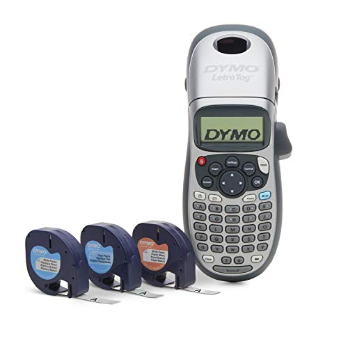 DYMO Label Maker with 3 Bonus Labeling Tapes | LetraTag 100H Handheld Label Maker & LT Label Tapes, Easy-to-Use, Great for Home & Office Organization