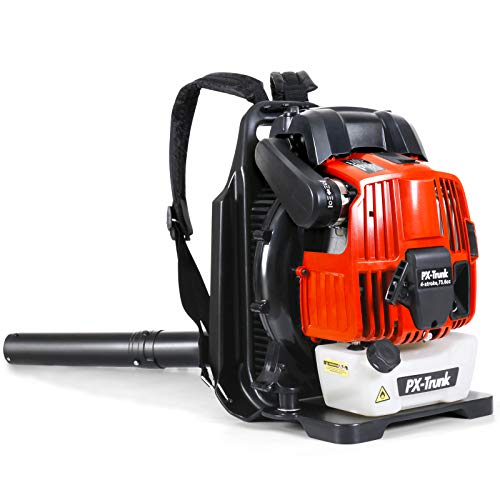 PX-Trunk Gas Leaf Blower Gas Powered Blower 76cc 4 Cycle Engine Backpack Blower Powerful 700 CFM Commercial Blower for Lawn Garden Blowing Leaves Snow Debris and Dust