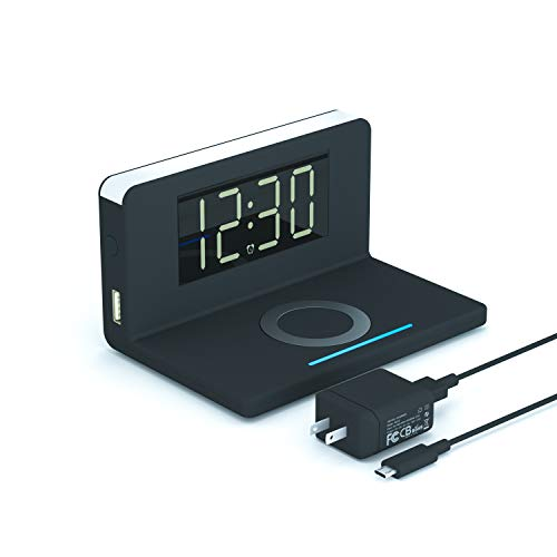 Pointuch Digital Clock, Wireless Charging Alarm Clock with Warm White Night Light QC3.0 USB Plug, Modern Desk Clock for iPhone Charging Dock Bedroom Living Room, 12/24H, Snooze Bedside Clock, Black