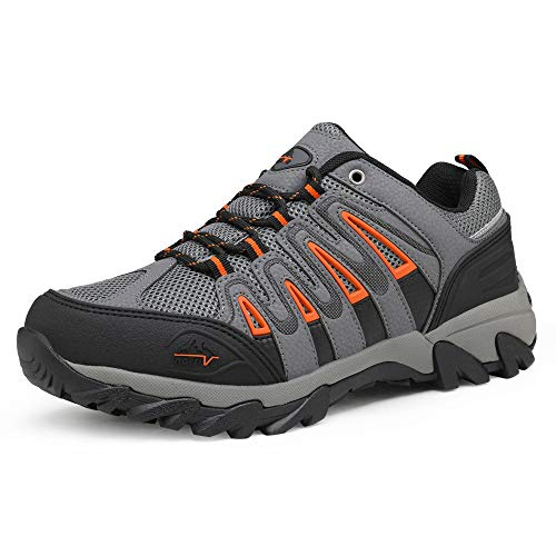 NORTIV 8 Men's Waterproof Hiking Shoes Low Top Lightweight Outdoor Trekking Camping Trail Hiking Shoes Black Grey Orange Size 10.5 M US Quest-2