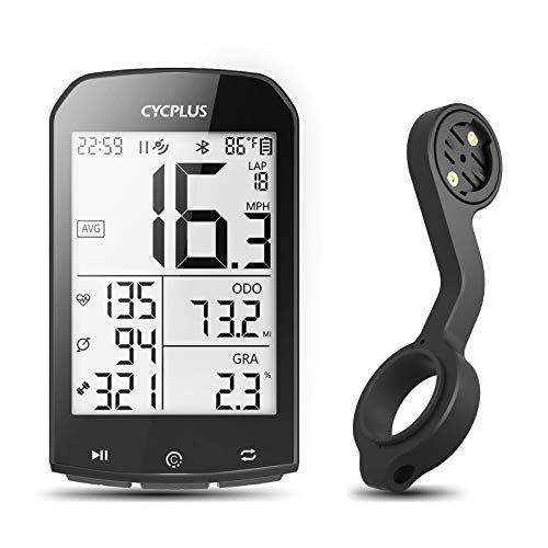 CYCPLUS GPS Bike Computer with Mount, Wireless Cycling Computer Ant+ Waterproof Speedometer and Odometer M1and Z2 Handlebar Mount