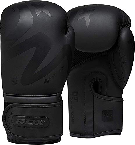 RDX Boxing Gloves Training Muay Thai, Premium Maya Hide Leather, Sparring Kickboxing Fighting, Noir Black Pro Mitts for Heavy Punch Bag, Focus Pads, Double end Ball Punching Workout, Home Gym Fitness