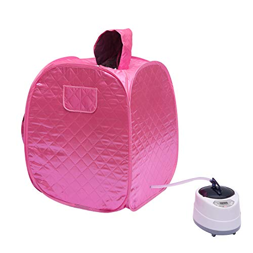 DRESSPLUS Portable Steam Sauna SPA,Folding Tent Full Body Spa, with 2.6L Steamer Remote Control Timer Sauna, for Weight Loss Detox Relaxation at Home, for 2 Person Full Body Leg Relaxation(Pink)
