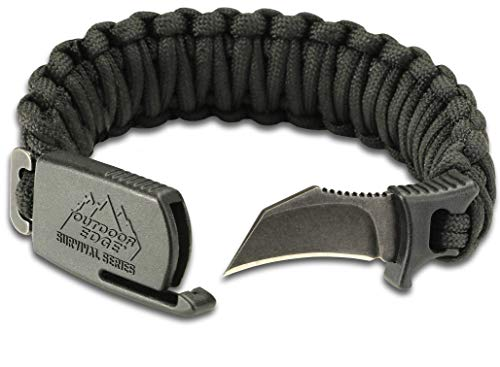 Outdoor Edge ParaClaw - Tactical EDC Paracord Knife Bracelet with 1.5' Hawkbill Blade (Black, Large)