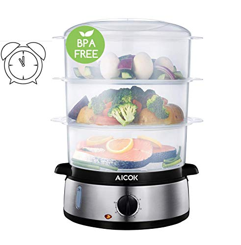 Aicok Food Steamer for Cooking, 9.5 Quart Electric Steamer with 3 Tier Stackable Baskets and Auto Shutoff, 800W Fast Heating Electric Steamer including Egg Holder and Rice Tray, Stainless Steel Base