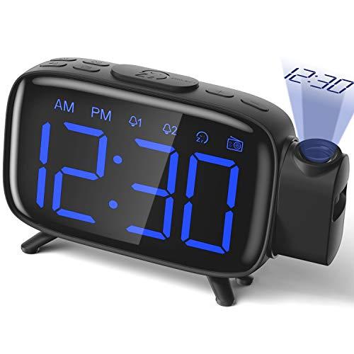 Projection Alarm Clock Radio Alarm Clock Digital Clock with Power Adapter Alarm Clocks for Bedrooms ELEHOT