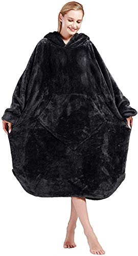 Bobor Blanket Hoodie, Oversized Sweatshirt Wearable Fleece Blanket with Large Front Pocket for Adults, Men, Women, and Kids, Fuzzy, Fluffy, Plush, Soft, Cozy Flannel Blanket