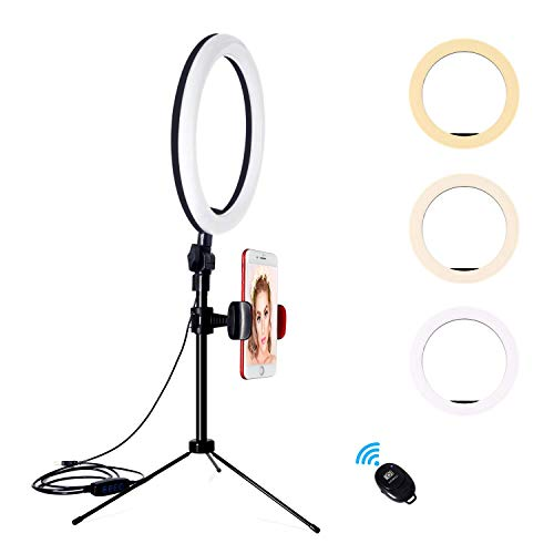 YMCRLUX Desk Ring Light with Stand and Phone Holder for Laptop, Computer, 10 Inch Desktop Ring Light for Webcam, Zoom Meetings, Video Conferencing, Video Calls, Live Streaming, Vlog, Makeup, Camera