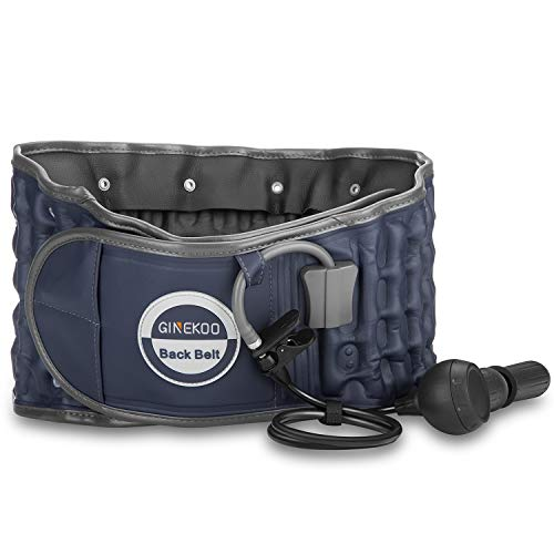 Decompression Back Belt by GINEKOO - Spinal Air Traction Belt for Lumbar Support and Lower Back Pain, Back Support & Lumbar Traction Belt, Navy Blue(29-49 inch Waists)