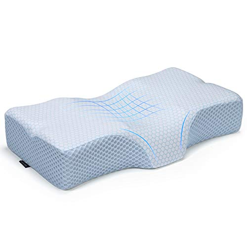 Adkwse Contour Memory Foam Pillow for Neck Pain, Cervical Pillow for Sleeping, Orthopedic Pillow for Neck Support, Bed Pillows for Side, Back and Stomach Sleepers, Washable Cover (Blue+Ice Silk)