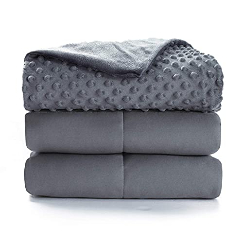 Bedsure Weighted Blanket Queen Size with Removable Cover - Washable Heavy Blanket for Adult 15lb Premium Cotton with Glass Beads 60'×80' Grey