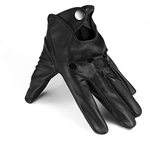 Driving Gloves Thin Black Leather Gloves Mens Driving Gloves Touchscreen Outdoor Sports, Pu/Black, PU/8.5/M