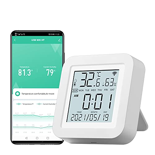 WiFi Temperature and Humidity Sensor Indoor Hygrometer Thermometer with LCD Display Monitor for House Greenhouse Compatible with Alexa Google Assistant