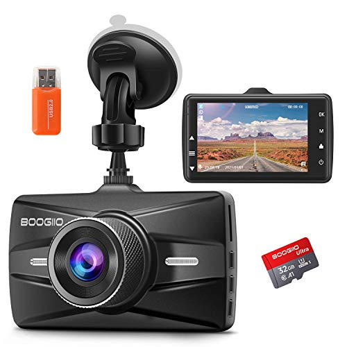Dash Cam Front with 32G SD Card, BOOGIIO 1080P FHD Car Driving Recorder 3'' IPS Screen 170°Wide Angle Dashboard Camera Aluminum Alloy Case, WDR G-Sensor Parking Monitor Loop Recording Motion Detection