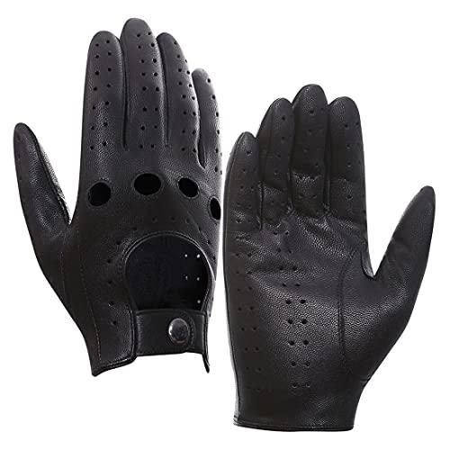Harssidanzar Mens Leather Driving Gloves Goatskin Unlined, Black, Size L