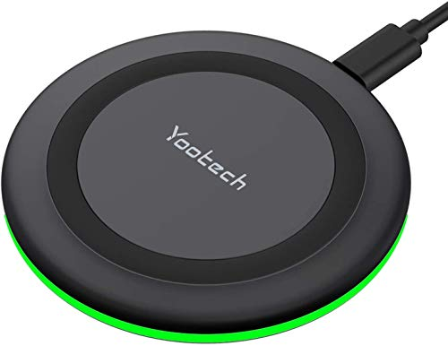 Yootech Wireless Charger, Qi-Certified 10W Max Fast Wireless Charging Pad Compatible with iPhone 12/12 Mini/12 Pro Max/SE 2020/11 Pro Max,Samsung Galaxy S21/S20/Note 10/S10,AirPods Pro(No AC Adapter)