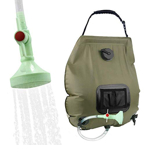 KIPIDA Solar Shower Bag,5 gallons/20L Solar Heating Camping Shower Bag with Removable Hose and On-Off Switchable Shower Head for Camping Beach Swimming Outdoor Traveling Hiking (Green)
