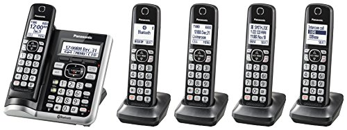 Panasonic Link2Cell Bluetooth Cordless Phone System with Voice Assistant, Call Blocking and Answering Machine. DECT 6.0 Expandable Cordless System - 5 Handsets - KX-TGF575S (Black with Silver Trim)