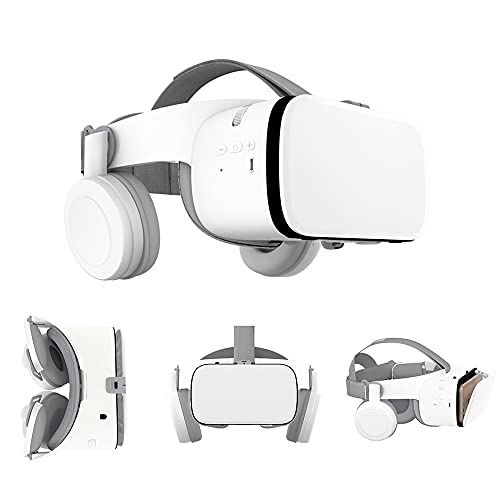 Peiloh VR Headset Compatible with 4.7-6.3 inch iPhone and Android, Virtual Reality Headset with Wireless Headphones 3D VR Glasses Goggles for IMAX Movies & Cardboard Games, Soft & Comfortable