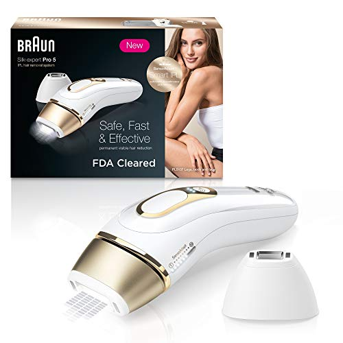 Braun IPL Hair Removal for Women Silk Expert Pro 5 PL5137 with Venus Swirl Razor FDA Cleared Permanent Reduction in Hair Regrowth for Body Face Corded, Gold/White, 1 Count(Packaging May Vary)