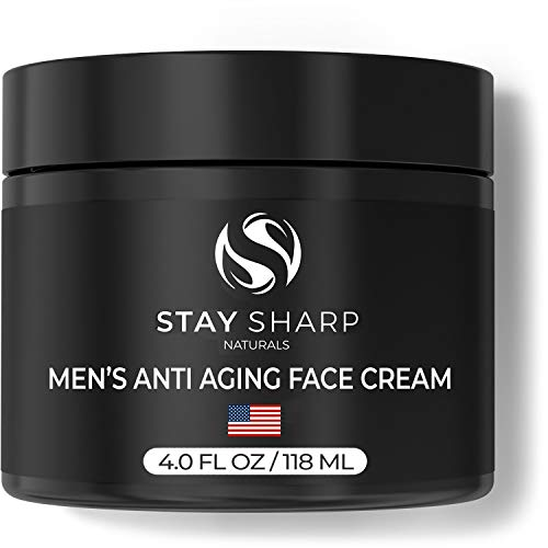 Mens Facial Moisturizer - Anti Aging Face Cream for Men 4oz - Natural Moisturizing Mens Face Lotion - Advanced Skin Care for Men by Stay Sharp Naturals