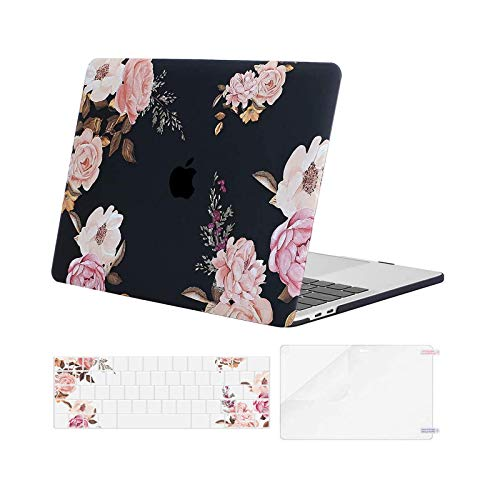 MOSISO Compatible with MacBook Pro 13 inch Case 2016-2020 Release A2338 M1 A2289 A2251 A2159 A1989 A1706 A1708, Plastic Peony Hard Shell Case & Keyboard Cover Skin & Screen Protector, Black