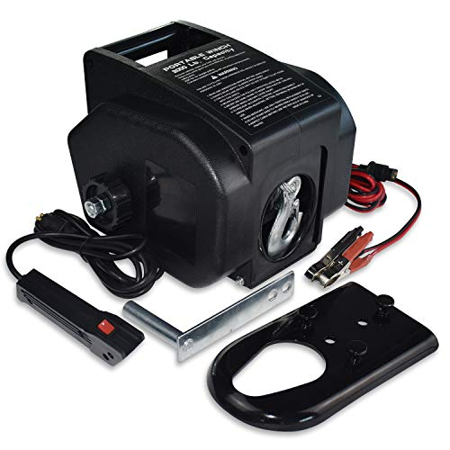 Hantun Trailer Winch,Reversible Electric Winch for Boats up to 6000 lbs 12V DC,Power-in, Power-Out, Freewheel Operations, with Corded Remote Control & Hand Crank