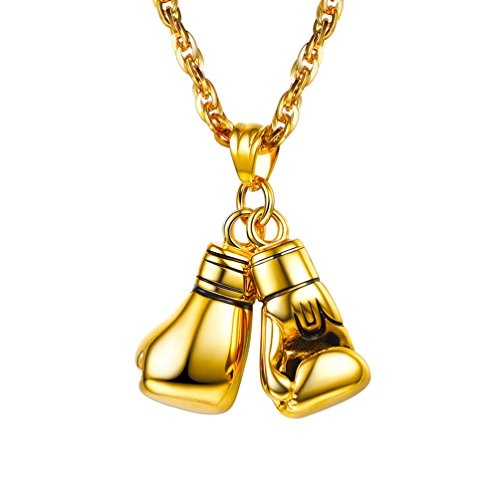 PROSTEEL 18K Gold Plated Boxing Glove Pendant Necklace Sport Fitness Jewelry Hiphop Gold Chains for Men Gift