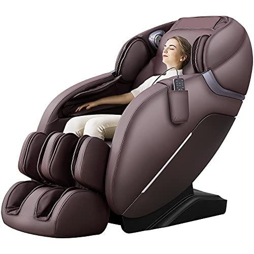 iRest A303 Shiatsu Massage Chair, Full Body Massage Recliner, SL track, Zero Gravity, Spine Massage Therapy, Bluetooth & HD speaker, Foot Roller Massager, Space-saving Design (BROWN)