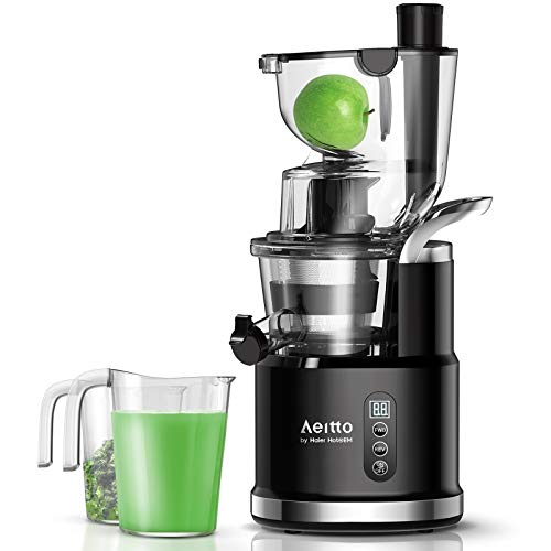 Aeitto Slow Juicer, Slow Masticating Juicer Machine with Big Wide 81mm Chute 900 ml Juice Cup, Cold Press Juicer for Nutrient Fruits and Vegetables, Juicer Machine BPA-Free, Easy to Clean