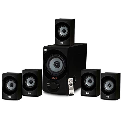 Acoustic Audio AA5172 700W Bluetooth Home Theater 5.1 Speaker System with FM Tuner, USB, SD Card, Remote Control, Powered Sub (6 Speakers, 5.1 Channels, Black with Gray)
