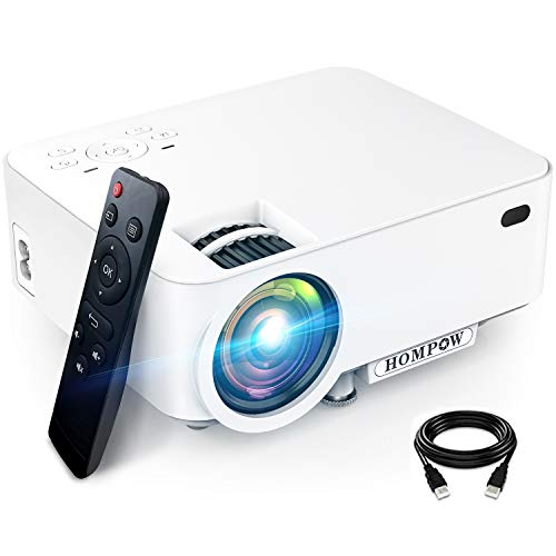 Mini Projector, Hompow 5500L Movie Projector, Smartphone Portable Video Projector 1080P Supported and 176' Display, Compatible with TV Stick/HDMI/VGA/USB/TV Box/Laptop/DVD/PS4 for Home